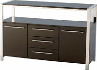 Seconique Charisma 2 Door 3 Drawer Sideboard - Black High Gloss And Chrome