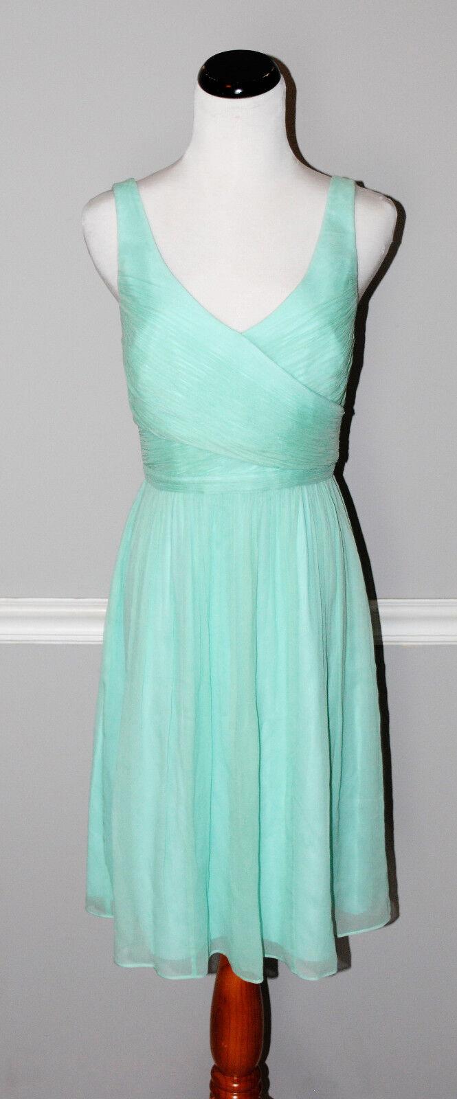 J.Crew Heidi Dress in Silk Chiffon #93100 Sleeveless Bright Seaside Aqua 6