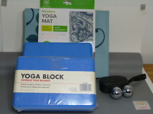 NEW* Lot  Maji Sports travel and Gaiam yoga mats 2 yoga blocks 2energy hand ball