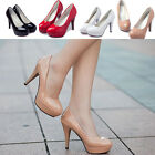 Woman Patent leather Round Toe Stiletto High Heel Platform Pump Wedge Shoes Sz