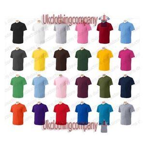 Gildan-Pesado-100-Mangas-Cortas-Algodon-Cuello-Redondo-T-Camiseta-Para-hombre-Tops-Tees
