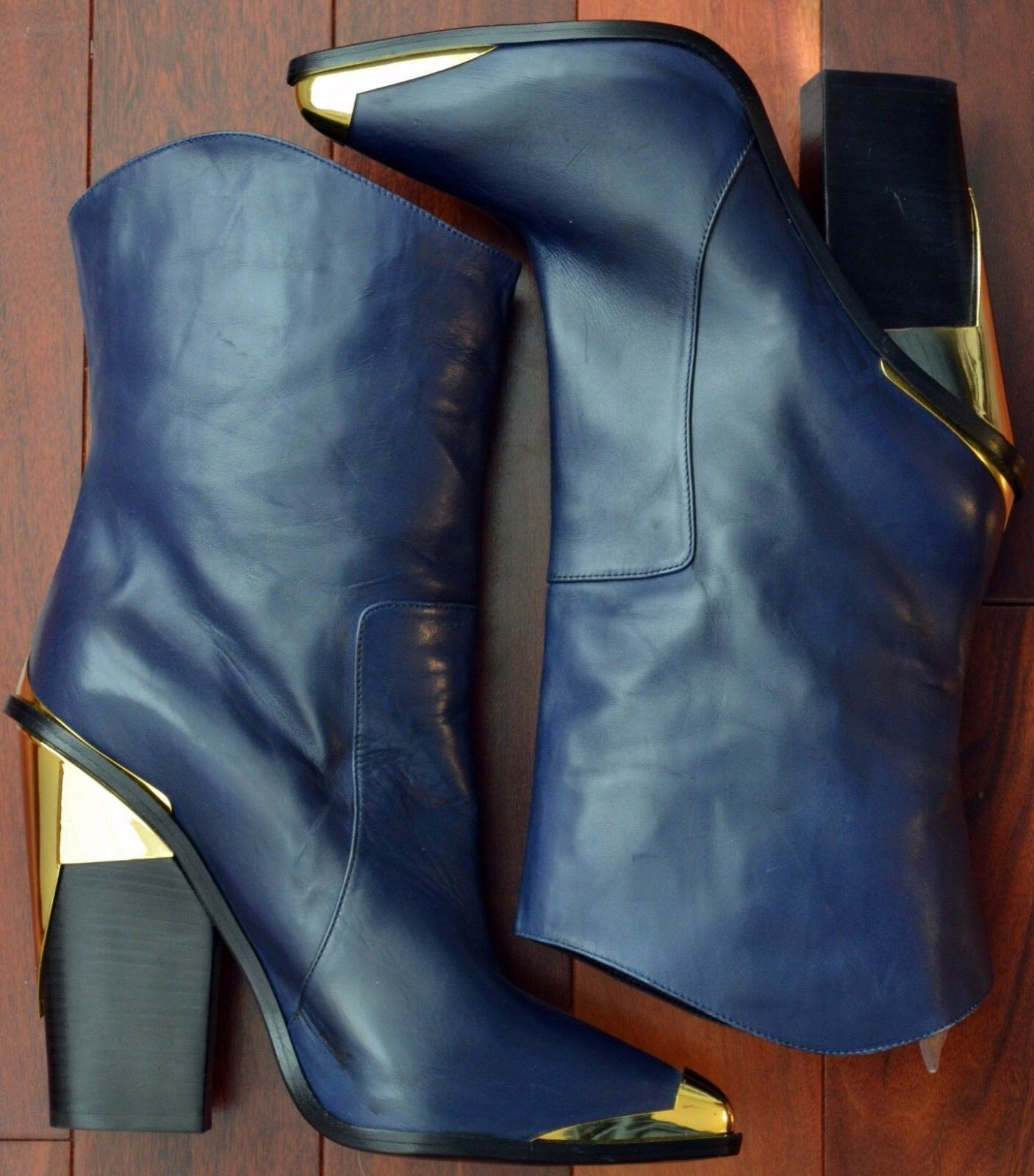 ULTRA-RARE! Versace Italy Dark Navy Blue Leather w/ Gold Metal Dress Boots 40.5