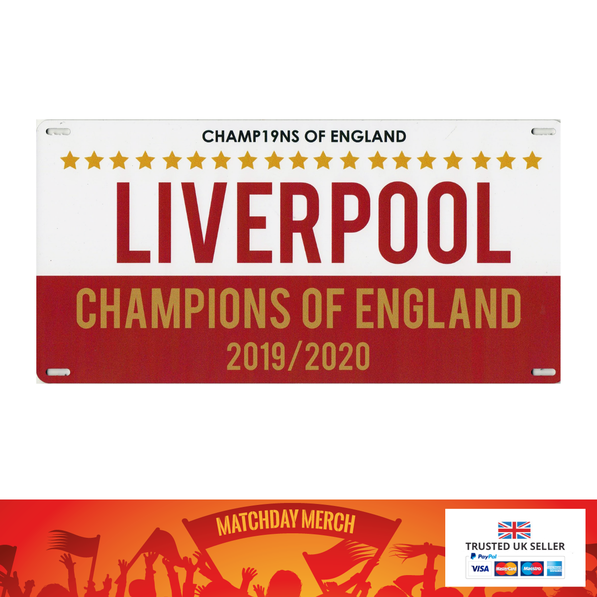 Liverpool Champions 2020 Metal Wall Plaque 30 x 15 cm Great Gift or Keepsake