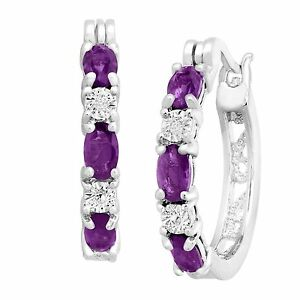 February Birthstone Natural Amethyst Earrings W Diamonds In Platinum Over Br