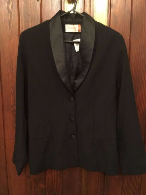 BLACK ROCKMANS JACKET WITH SATIN SHAWL COLLAR SIZE 12 BRAND NEW