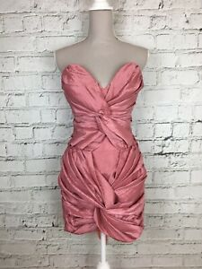 CHARA-Pink-Rose-Coloured-Bodycon-Strapless-Cocktail-Party-Mini-Dress-Size-12