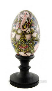 Ganesh Pittura Su Uovo IN Legno Dipinto Portafortuna 6