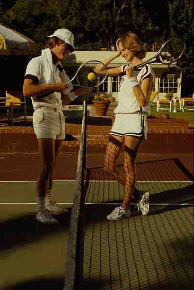 732059 Tennis Couple At The Net A4 Photo Print