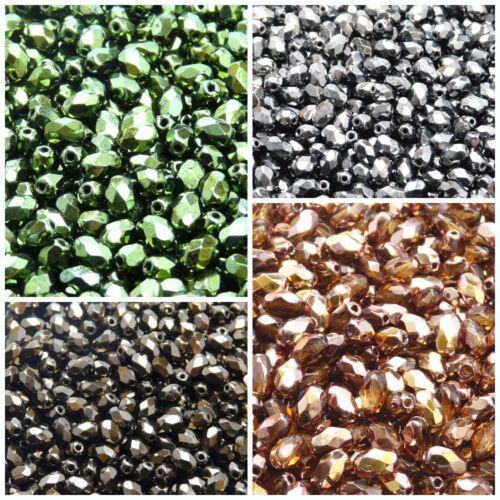 Choisissez Couleur 50pcs 6x4mm firepolished à facettes perles olive Czech glass