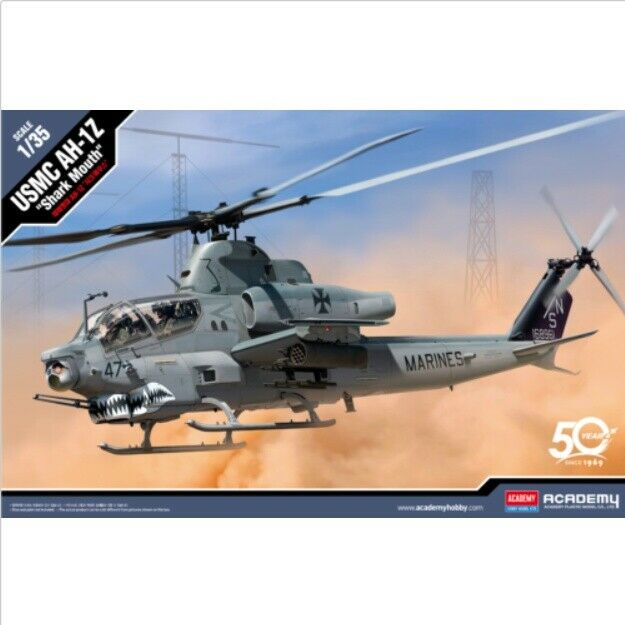 1 35 USMC AH-1Z Shark Mouth ACADEMY Air Force Helicopter Hobby Model Kits