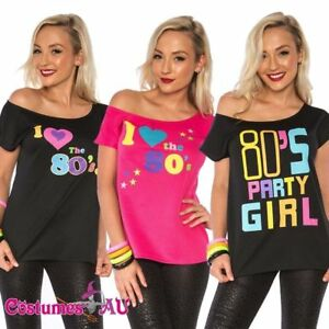 I-Love-the-80-039-s-80s-T-shirt-Costume-Ladies-1980s-Fancy-Dress-Girls-Top-TShirt