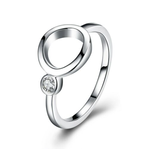 #9 R9010 925 Silver Women/'s Fashion Jewelry zircon double cercle femmes Ring #6