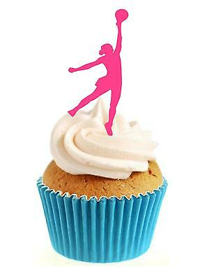 """cake toppers Pink Netball Silhouette PRECUT 30 x 1.3/"""" wafer paper cupcake"""