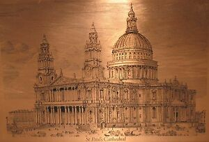 Vintage-Framed-Etchmaster-Copper-St-Pauls-Cathedral-Picture-London