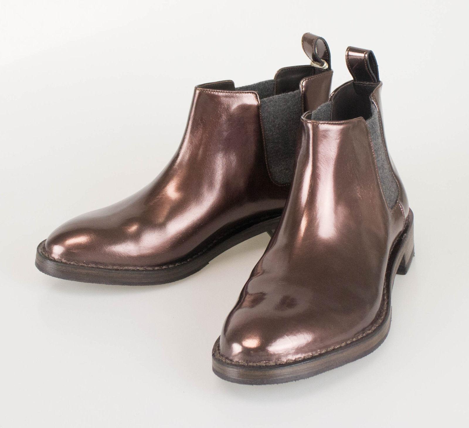 New BRUNELLO CUCINELLI braun braun braun Patent Leather Ankle Stiefel schuhe Größe 38 8  1395 a935ac