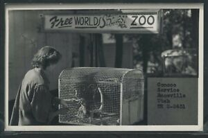 Details about UT Snowville RPPC 50's CONOCO SERVICE STATION WORLD'S  SMALLEST ZOO Box Elder Co