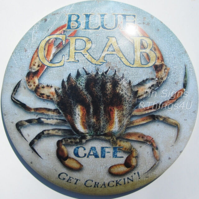 Blue Crab Cafe ROUND DOME TIN SIGN vtg seafood nautical bar metal wall decor OHW