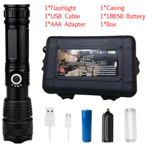 900000 Lumens XHP50 High Power LED Flashlight Torch Rechargeable Zoom Headlamp