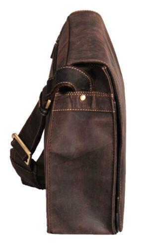 Mens Messenger BROWN Leather Bag VINTAGE Laptop Office Uni Casual Record Bag NEW
