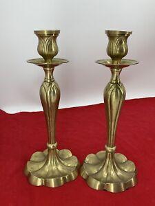 2-Vintage-Flower-Base-Brass-Candlesticks-Candle-Holders-13-5