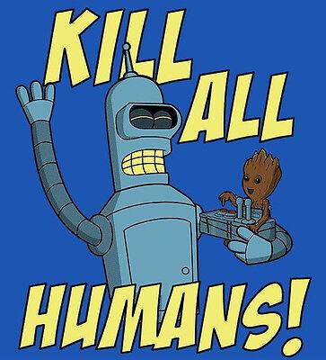 "Baby Groot Futurama ""Kill All Humans"" Guardians Galaxy Bender Men's L or XL Tee"