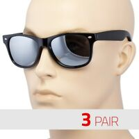 3 Pair Men Women Sunglasses Style Black Frame 100% Uv Dark Mirror Lens