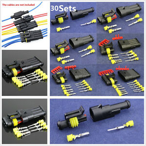 30-Sets-Plastic-300V-12A-Car-Sealed-Electrical-Wire-Connector-Plugs-1-2-3-4-5-6P