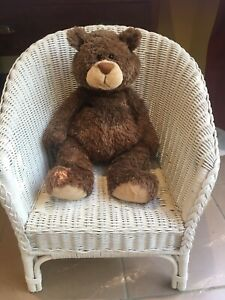 Excellent-Children-s-Toy-Doll-Teddy-Bear-White-Cane-Wicker-Chair
