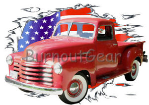 1972 Red Chevy Pickup Truck 4X4 a Custom Hot Rod USA T-Shirt 72 Muscle Car Tees