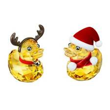Swarovski Figurines Happy Ducks Santa and Reindeer Bright Yellow Crystal 5004497