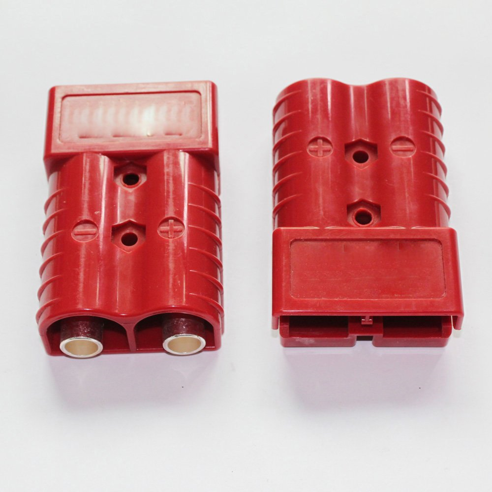 X-Haibei 10 Jumper Cables Connect Disconnect Plug for Trailer Forklift 8 AWG Winch Quick Connector 50 amp 8 Gauge Battery Quick Connector Red 5 Pair