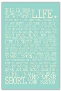 Inspirational Life Manifesto Quote Typography Wrapped Canvas Print Blue Wall Art