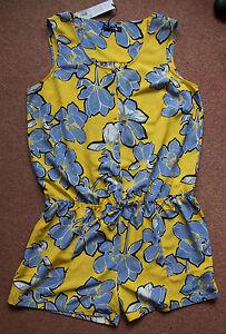 18 Tie Shorts Gok vita estiva floreale Sz e giallo Playsuit blu Nuovo z5aqC