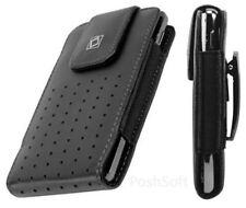 Leather Case Pouch for LG G6 + G5. Holster+Belt-Clip Black (fits w.thin case on)