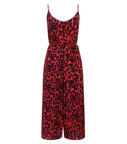 NEW LOOK RED LEOPARD PRINT STRAPPY TIE WAIST 3//4 WIDE LEG JUMPSUIT SUMMER UK 6 8