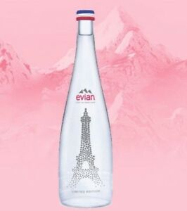 EIFFEL TOWER Paris Limited Edition Collectible Glass Water Bottle 2019 EVIAN NEW