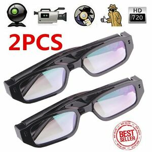 2pcs HD 720P Spy Camera Glasses Hidden Eyewear DVR Video Recorder Cam Camcorder~