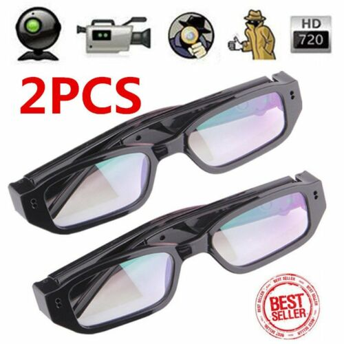 2pcs HD 720P Spy Camera Glasses Hidden Eyewear DVR Video Recorder Cam Camcorder~