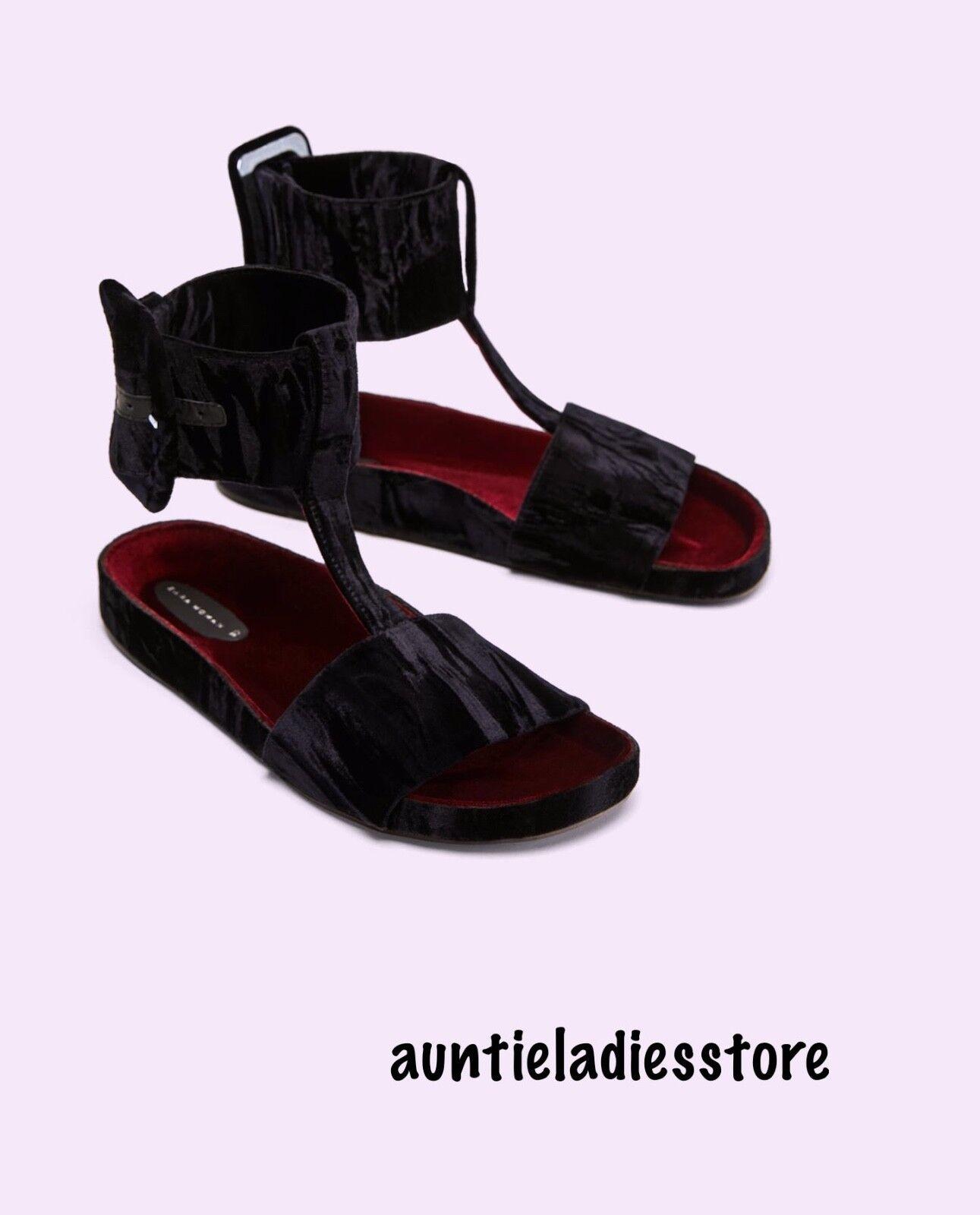 Zara Velvet Slides With Ankle Strap Größe 39,40