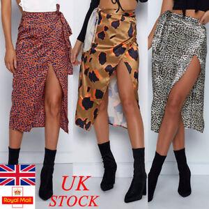 UK-Womens-Ladies-Leopard-High-Waist-Midi-Long-Skirt-Split-Dress-Party-Cocktail