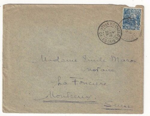 1923 Houailou New Caledonia to Montreux France, Single Franking