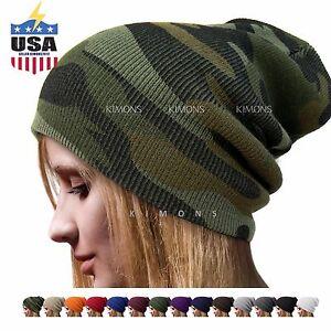 Cuff Plain Baggy Beanie Hat Military Ski Army Cap Skull Camo Slouchy ... 56b2948b7ea4
