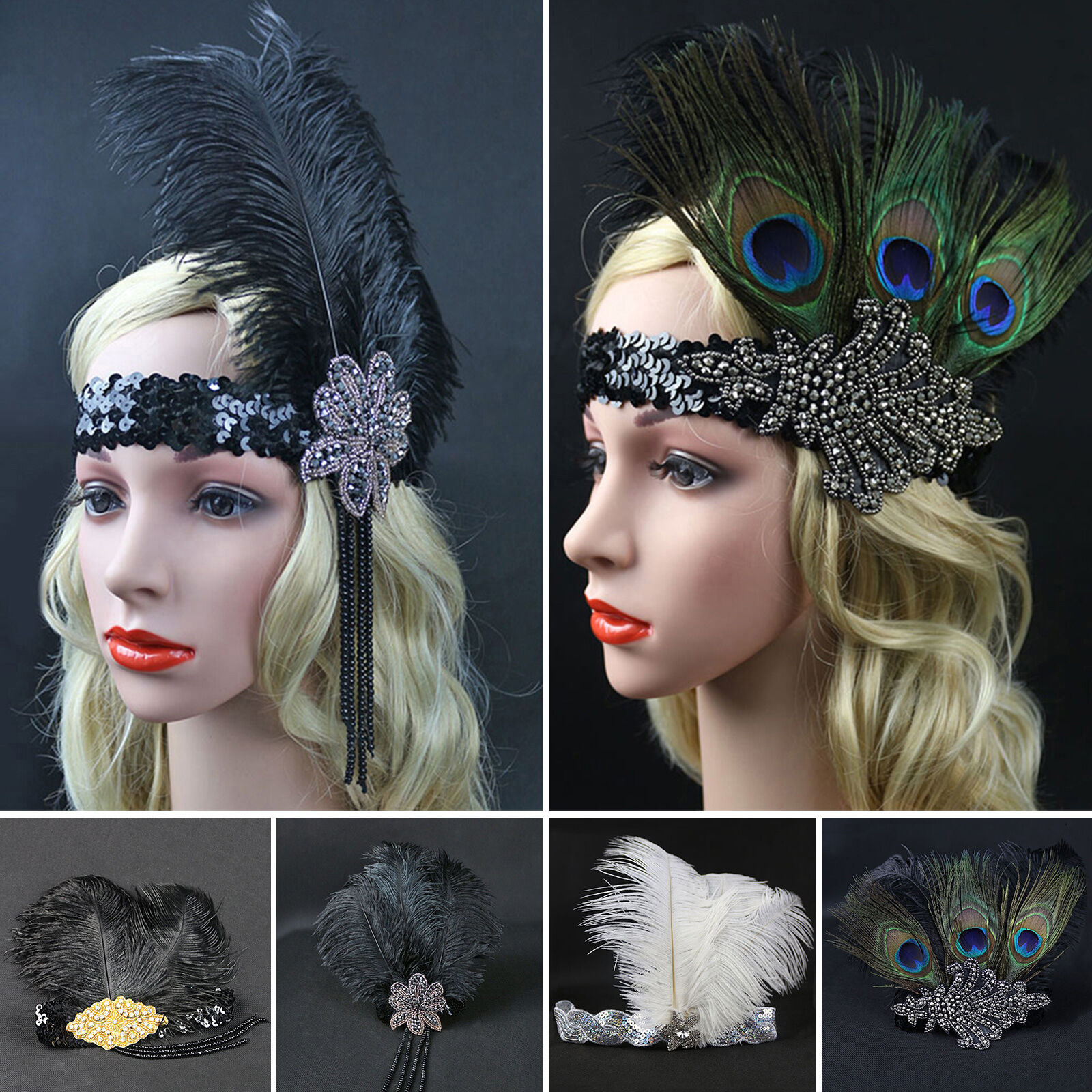 Black Sequins Feather Vintage Hairpiece 1920s Great Gatsby Flapper Headband