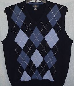 BROOKS BROTHERS Soft EXTRA FINE MERINO WOOL Blue Argyle SWEATER ...