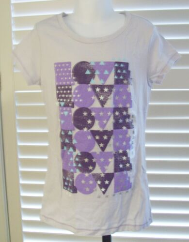 Gap Girl/'s Shirt Size 10 Love Graphic Short Sleeve Cotton Top Gray Large New
