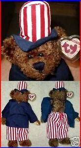 TY-Attic-Treasure-034-SAMUEL-034-Uncle-Sam-JULY-Teddy-Bear-MWMT-Retired-Rare