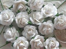 100 Cute Handmade Mulberry Paper Roses - 10MM - Lovely White Rose Embellishments