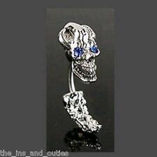 Skull BLUE Eye Gem Belly Ring Navel Naval ( w809)