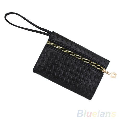 Women's Royal Black Faux Leather Purse Clutch Wristlet Wallet Coin Bag