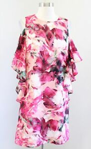 NWT Tahari ASL Levine Pink Floral Print Ruffle Cold Shoulder Shift Dress Size 4